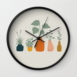 Cat and Plant 9 Wall Clock