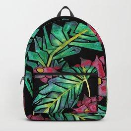 black tropical watercolor floral Backpack