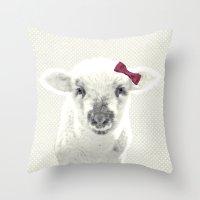 lamb Throw Pillows featuring LAMB by SUNLIGHT STUDIOS  Monika Strigel