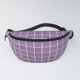 Pomp and Power - violet color - White Lines Grid Pattern Fanny Pack