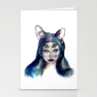 meow Stationery Cards featuring Meow by Andreea Maria Has