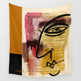 "Funky Face Abstract, ""I See 38"" by Kathy morton Stanion Wall Tapestry"