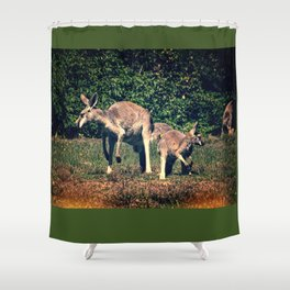 Kangaroo and Joey on the Lookout, Vintage Look Shower Curtain