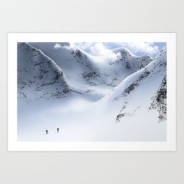 Minimal Snow Mountain Landscape Hiking 13 Art Print