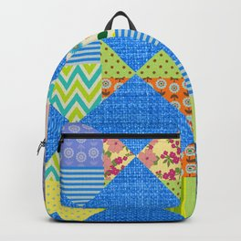 Jean and colorful patchwork print Backpack