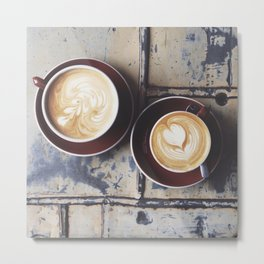 Lattes for Two Metal Print