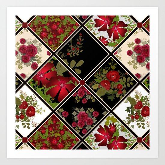 Floral folk patchwork. Ethnic Art Print