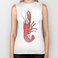 lobster Biker Tanks featuring Lobster by Carl Christensen