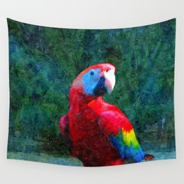Red Parrot Tropical Bird Painting Wall Tapestry