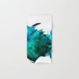 Crashing Waves: a vibrant minimal abstract design in blue, green, and white by Alyssa Hamilton Art  Hand & Bath Towel