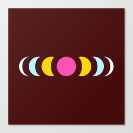 Minimal Abstract 80s Colors Retro Style Moon Phase - Baicho Canvas Print