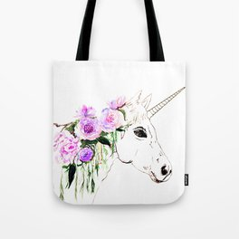 Unicorn with purple flowers Tote Bag