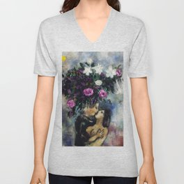 Lovers Under Calla Lilies & Flowers by Marc Chagall Unisex V-Neck