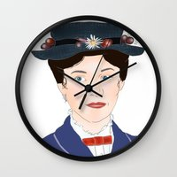 mary poppins Wall Clocks featuring Mary Poppins by Bubble Trump Ltd