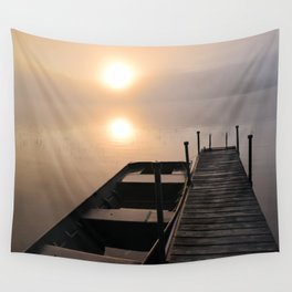 Foggy Adirondack Dawn: Sun, Boat, and Dock Wall Tapestry