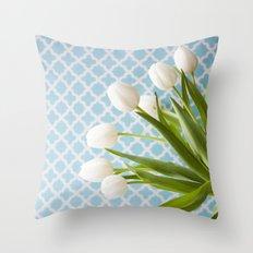 Tulip Endearment - White & Aqua Throw Pillow