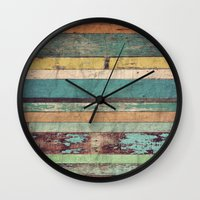 wooden Wall Clocks featuring Wooden Vintage  by Patterns and Textures