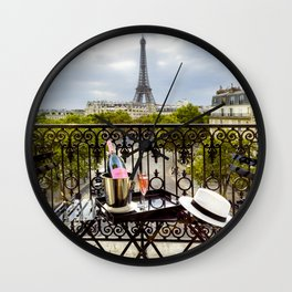 Eiffel Tower Paris Balcony View Wall Clock