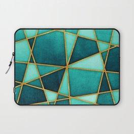 Aquamarine Watercolor Skewed Color Blocks Laptop Sleeve