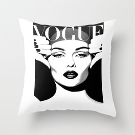 VOGUE FASHION COVER,Vogue Posters,Vogue Prints,Vogue Patterns,Black And White,Fashion Decor,Modern H Throw Pillow
