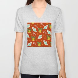 Christmas Bells and Candy Canes Pattern Unisex V-Neck