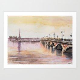 Bordeaux sunset watercolor painting Art Print