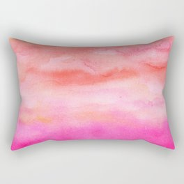Bright pink orange sunset watercolor hand painted Rectangular Pillow