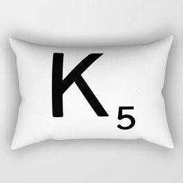 Letter K - Custom Scrabble Letter Tile Art - Scrabble K Rectangular Pillow