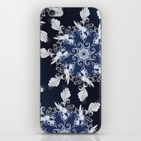 damask iPhone & iPod Skins featuring Damask blue by /CAM