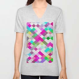 geometric square pixel pattern abstract in pink green yellow blue Unisex V-Neck
