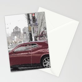 North American city life and street scene Stationery Cards