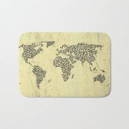 Black Star World Map Bath Mat