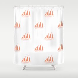 Coral Sailboat Pattern Shower Curtain