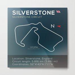 Silverstone Racetrack infographic Metal Print