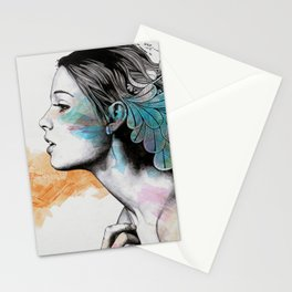 Moral Eclipse II | doodle woman portrait Stationery Cards