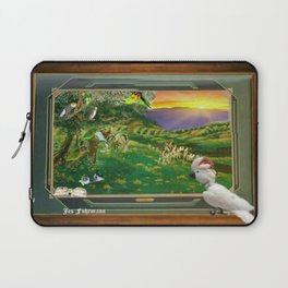 "Springtime Grazing in Napa Valley 24"" x 36"" oil over clay with illustrations of our rescued parrots Laptop Sleeve"