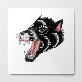Traditional Wolf Tattoo Metal Print