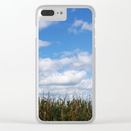 "Corn field in autumn with ""popcorn"" clouds Clear iPhone Case"