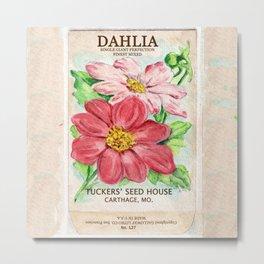 Dahlia Seed Packet Metal Print