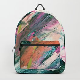 Meditate [5]: a vibrant, colorful abstract piece in bright green, teal, pink, orange, and white Backpack
