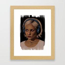 Riley Blue Headphones Portrait Framed Art Print