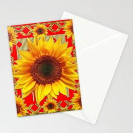 Ornate red Design Sunflower Art Stationery Cards