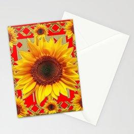 Ornate red Design Sunflower Art Stationery Cards