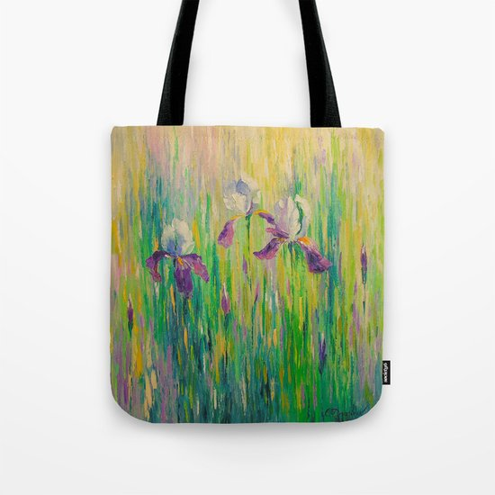 Morning with irises Tote Bag