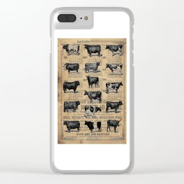 Vintage 1896 Cows Study on Antique Lancaster County Almanac Clear iPhone Case