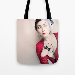 """Who Me?"" - The Playful Pinup - Red and Black Pin-up Girl by Maxwell H. Johnson Tote Bag"