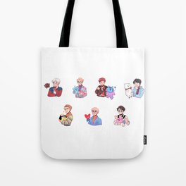 BTS with their BT21 Friends! Tote Bag