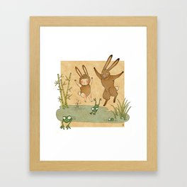 The hare and the frogs Framed Art Print