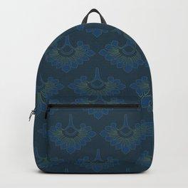Cerulean Fans with Deep Teal Back Backpack