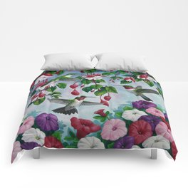 Hummingbirds in Fuchsia Flower Garden Comforters